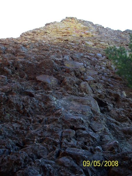 "Rock Climbing Photo: Looking up at the ""Green Chile Two-Step""..."
