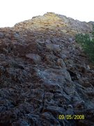 """Rock Climbing Photo: Looking up at the """"Green Chile Two-Step""""..."""