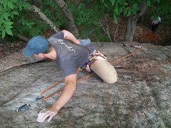 Rock Climbing Photo: After clipping the bolt.