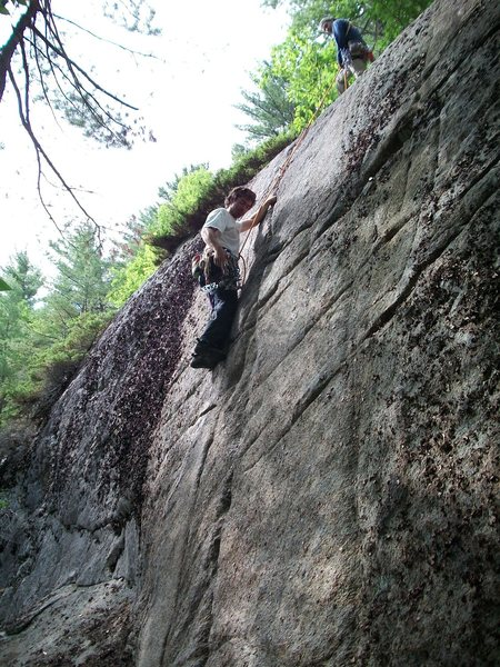 Rock Climbing Photo: Jim belaying Jon on first ascent of CMC Crack