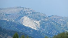 Rock Climbing Photo: Rock Springs Buttress from Hwy 22, highlighted.