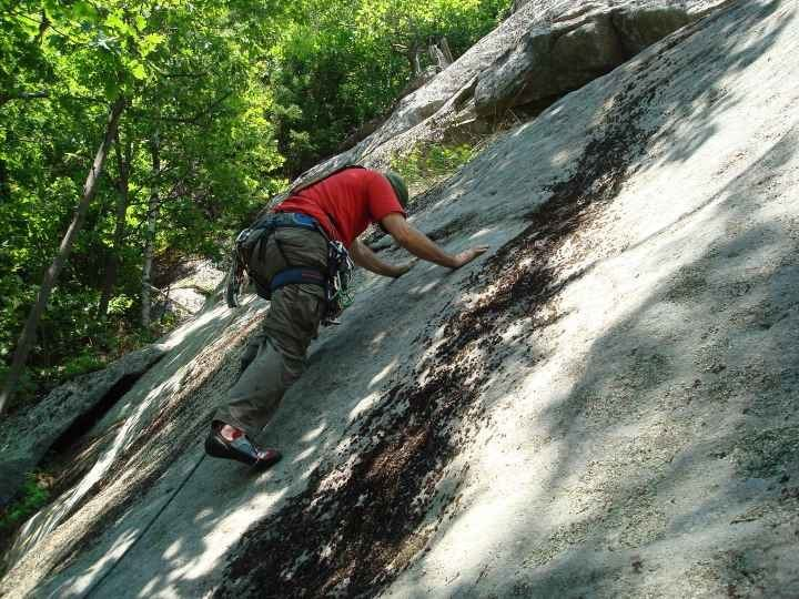 Rock Climbing Photo: Gauging the frictional coefficient during the FA.