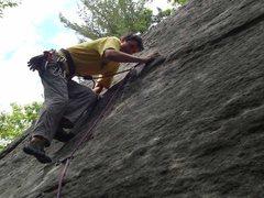 Rock Climbing Photo: Slab moves on the FA.