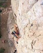 Rock Climbing Photo: Three clips into the onsight.  Bolt 5 as at top ri...