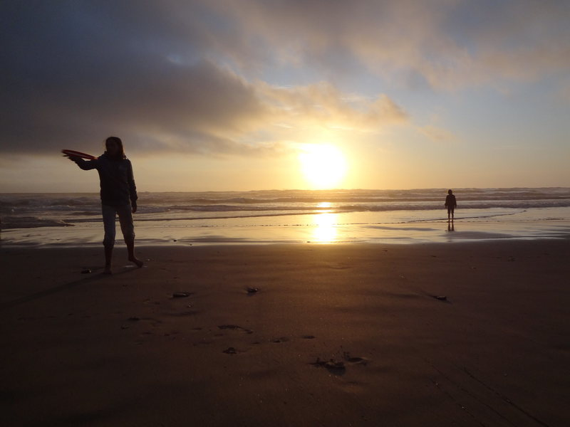 Rock Climbing Photo: Araceli and Ava at Sunset.  Cape Lookout Oregon Su...