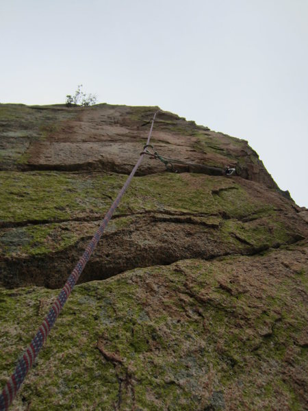Rock Climbing Photo: Looking up at pitch 3 (about halfway up)