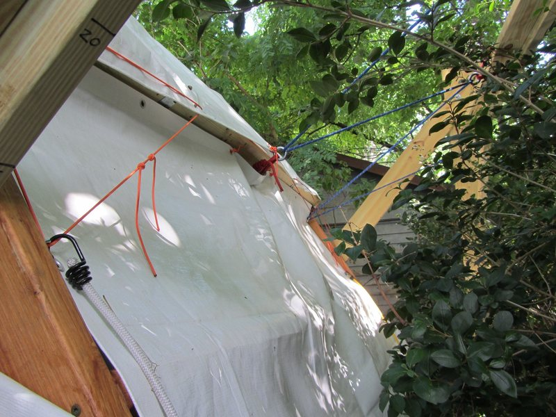Rock Climbing Photo: Rear view of tarps and suspension.