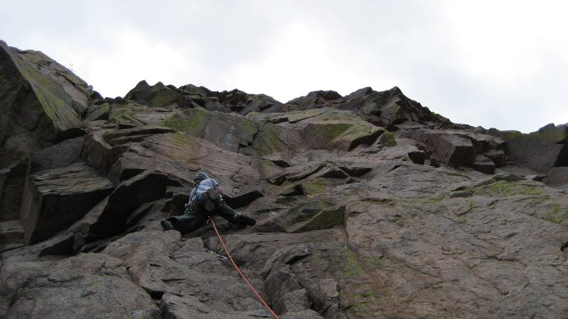 "Rock Climbing Photo: George heading up to the crux of ""Mountain Mo..."