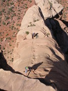Rock Climbing Photo: Coming up the last pitch on Independence Monument ...