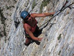 Rock Climbing Photo: LeAnn enjoys the Hell Holes