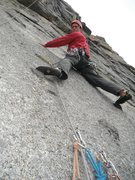 Rock Climbing Photo: Ben getting into the crux of pitch #6.