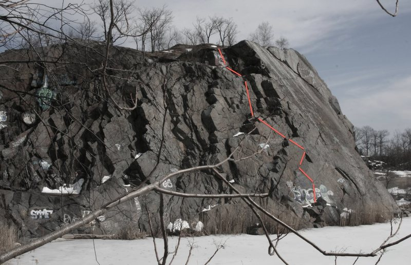 F-wall bouldering route...<br> <br> in hindsight, should NOT have done this without spotter at a minimum!