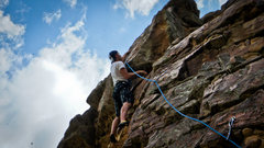 Rock Climbing Photo: Dallin at the crux just before the anchors