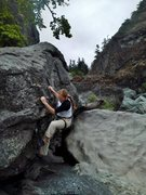 Sand is much higher now, so no campusing required to start this problem.  Crux is still the mantel to top out.