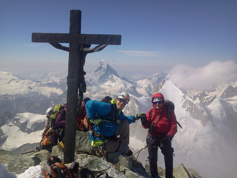 Summit of Zinalrothorn with my dad. Zermatt Switzerland.  Photo taken by Armin Fisher Copyright
