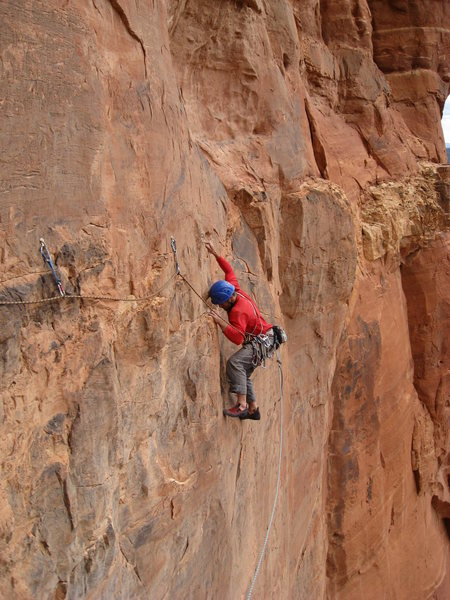 Third pitch traverse on the Prosecutor.
