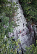Rock Climbing Photo: Reinke on Lost Face Overhang.