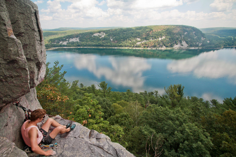 Great day , perfect belay. Stew of the HWDAMF's. Devil's Lake 7/28/12