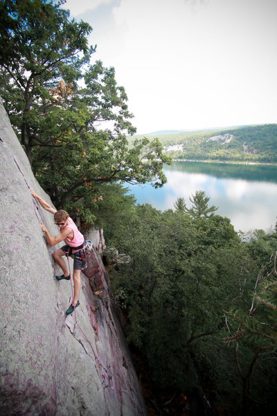 "Rock Climbing Photo: Stewart of the HWDAMF on ""Lost Face Overhang&..."