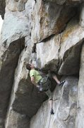 Rock Climbing Photo: Pulling through the 1st roof crux.