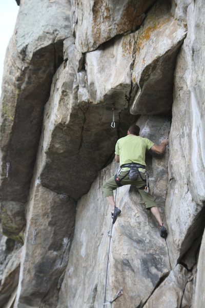 Rock Climbing Photo: Making my way up into the 1st roof undercling.