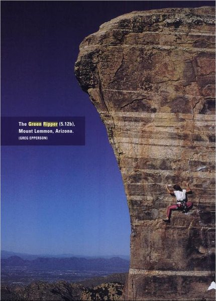 Lynn Hill on <em>The Green Ripper</em>.  Photo from 'Climbing Free: My Life in the Vertical World'.