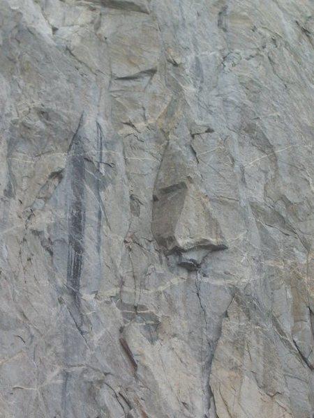 Rock Climbing Photo: wide pitch and traverse below