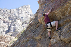 Rock Climbing Photo: Me setting up the crux move on Impossible Dream