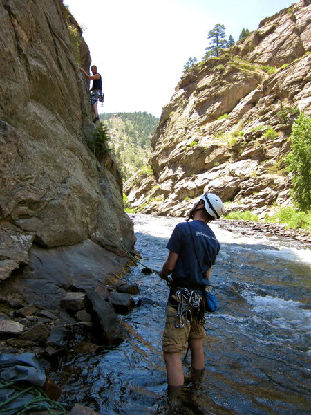 Gareth belaying Erik from the Creek!
