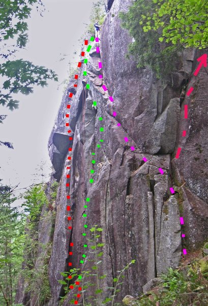 Rock Climbing Photo: Red dots show Hips and Valleys. Climber is at the ...