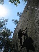 Rock Climbing Photo: Alan Jenkins stepping up.