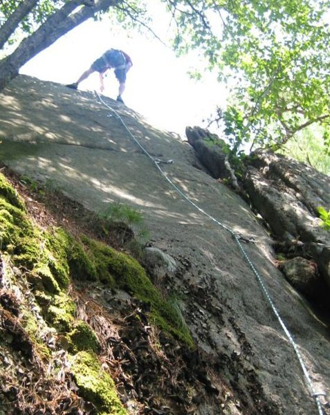 Christopher Lane does his first lead climb.