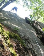 Rock Climbing Photo: Christopher Lane does his first lead climb.
