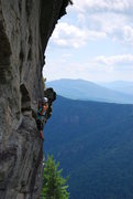 Rock Climbing Photo: Sandy preps for rappel from anchors of Lichen Worm...