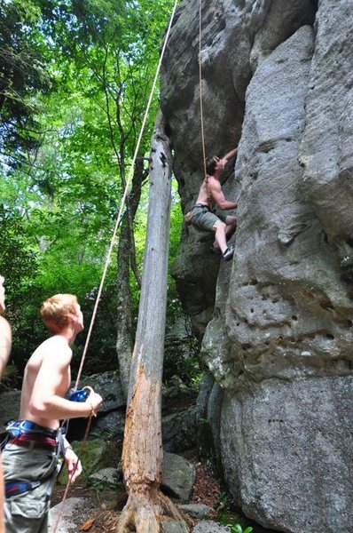 "Me climbing ""High Wall Block."""
