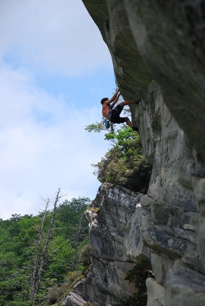 Will B. follows Jeff's rope over the roof on 2nd pitch of Eclipscicle 5.10+
