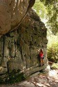 "Rock Climbing Photo: Penni traversing ""Swiss Cheese"" on &quot..."