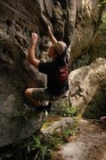"Rock Climbing Photo: Reaching for a hold on ""New High Score.""..."