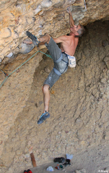 Ed Strang going for the send<br> Wyoming Sheep Shagger (5.13+)