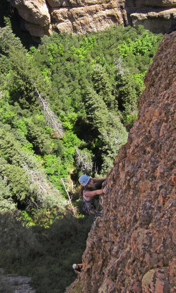 Lydia & Molly simul-climb <br> near the top of 1st pitch<br> The Great Chasam (5.7)