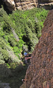 Rock Climbing Photo: Lydia & Molly simul-climb  near the top of 1st pit...