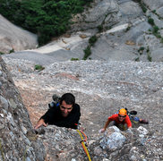 Rock Climbing Photo: Popi follows me on the final hard pitch of the Pui...
