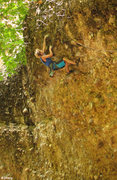 Rock Climbing Photo: Ben nearing the top-just before the onsight fall -...