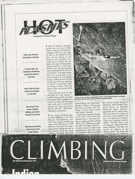 Rock Climbing Photo: Climbing Magazine, Oct./Nov., 1991.