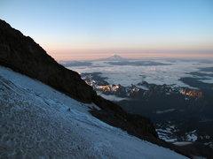 Rock Climbing Photo: Jake, walking onto the Kautz glacier at sunrise