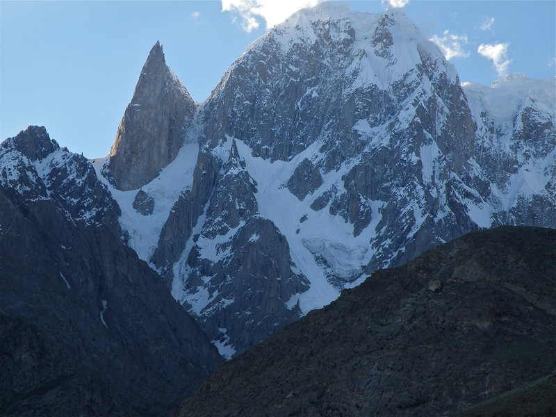 Unclimbed face of Bojoahgur Dunasir (24, 239 feet), this is the last remaining unclimbed peak in the Ultar Group in the Karakoram.