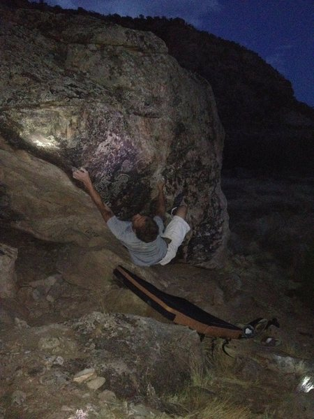 Rock Climbing Photo: In the middle of the route, before the committing ...