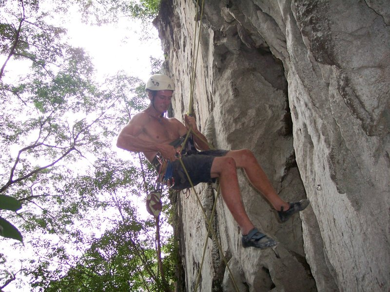 "Rock Climbing Photo: Eric Coffman rapping down ""pork barrel"" ..."