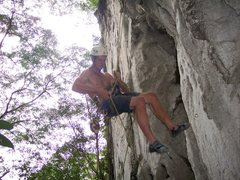 "Rock Climbing Photo: Eric Coffman rapping down ""pork barrel"" ..."