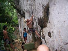 """Rock Climbing Photo: Eric Coffman starts up """"pork barrel""""5.10..."""